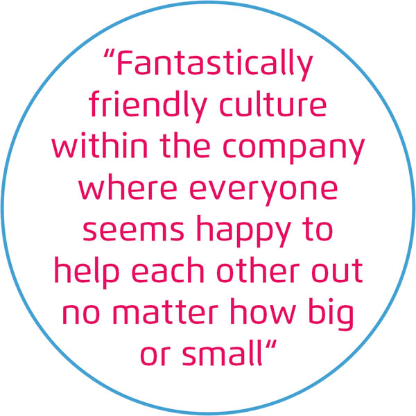 Fantastically friendly culture within the company where everyone seems happy to help each other out no matter how big or small